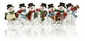 Snemænd spiller julemusik og julesange